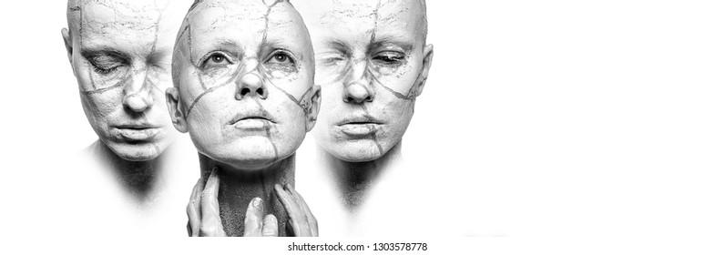 Stages of acceptance. Three woman faces with clay on face, black and white