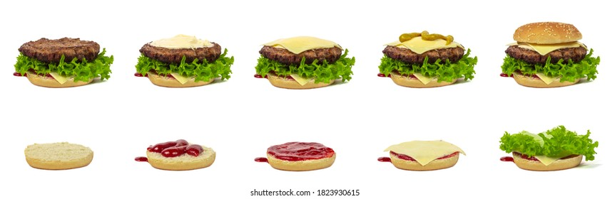 Stages of cooking burger process. Making fast food isolated on white background.