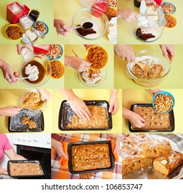 stages of cooking of  honey cake.  See series