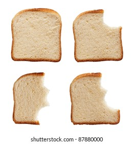 Stages in eating a slice of bread - isolated