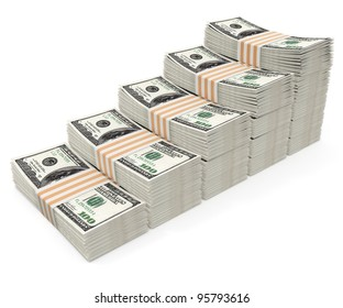 stages made of packs with dollars money isolated - 3d illustration