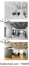 the stages of office interior CAD project