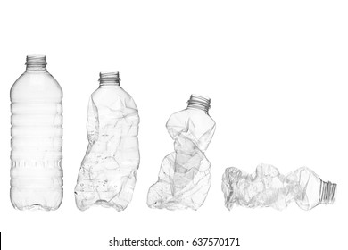 Stages of water bottle from full to crushed