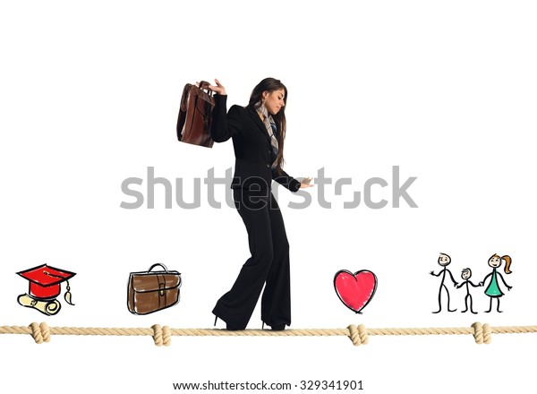 Stages of work and life of businesswoman