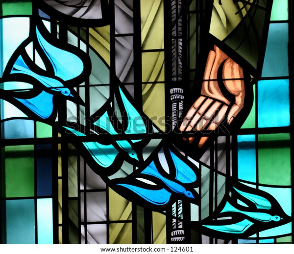 Stain Glass Doves