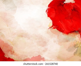 Stain Red Paint Over Background Grunge Splash Design Artistic Culture