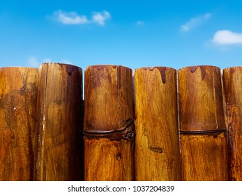 A stained bamboo fence and a blue skyline.