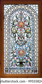 stained colorful lead window with floral motif