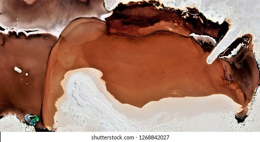 the stained earth, black gold, polluted desert sand, tribute to Pollock, abstract photography of the deserts of Africa from the air, aerial view, abstract expressionism, contemporary photographic art,