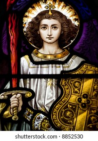 Stained glass in Catholic church in Dublin showing Archangel Michael