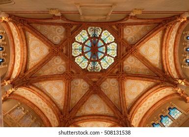 Stained glass ceiling, interior of Hospital de la Santa Creu i Sant Pau Barcelona, Catalunya/Spain - 17/10/2016