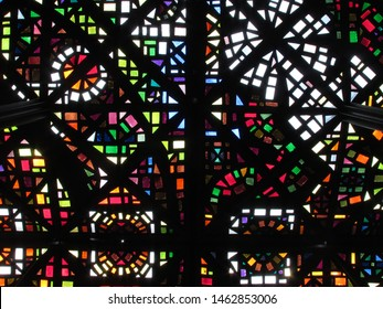 Stained glass ceiling of National Gallery of Victoria, Australia