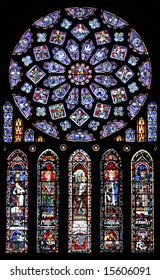Stained glass in Chartres Cathedral France