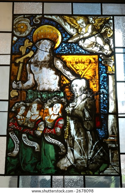 Stained glass in church with religious theme