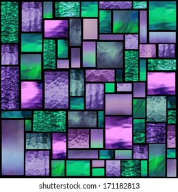 Stained glass church window in a purple and green tone, square orientation