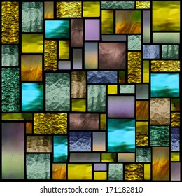 Stained glass church window in a yellow tone, square orientation