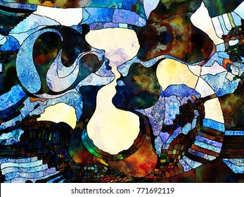 Stained Glass Forever series. Abstract background made of color fragments, shape patterns and symbols for use with projects on art, space division and design