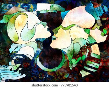 Stained Glass Forever series. Abstract design made of color fragments, shape patterns and symbols on the subject of art, space division and design