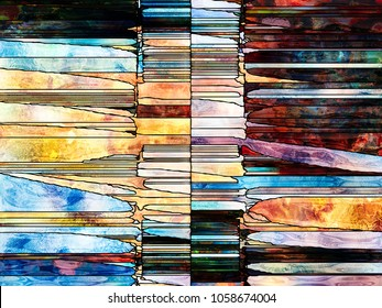 Stained Glass Forever series. Backdrop design of lines, shapes and color patterns for works on design, creativity and imagination