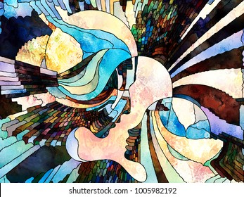 Stained Glass Forever series. Background composition of  color fragments, shape patterns and symbols on the subject of art, space division and design