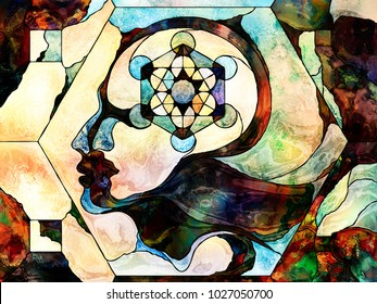 Stained Glass Forever series. Human profiles with sacred geometry circles drawn with organic patterns on the subject of mind, knowledge, mysticism and unity of Nature.