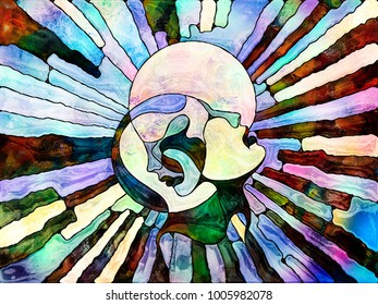 Stained Glass Forever series. Interplay of human profiles, abstract organic patterns and colors on the subject of art, creativity, imagination, internal reality and unity of men and Nature.
