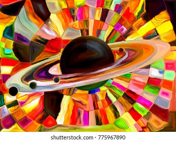 Stained Glass Forever series. Planet executed with multicolored mosaic pattern on the subject of astronomy, science and Nature.