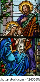 Stained glass with Holy Family