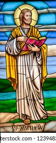 Stained Glass image of St. Matthew taken at St. Elizabeth Seton Catholic Church. Ocean Springs, MS, on November 24, 2018