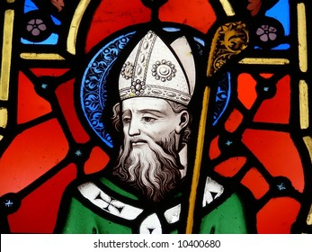 Stained Glass image of St. Patrick