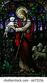 stained glass jesus the good shepherd