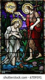 stained glass john baptizing jesus