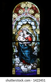 Stained Glass - Mary holding Jesus - Church side window