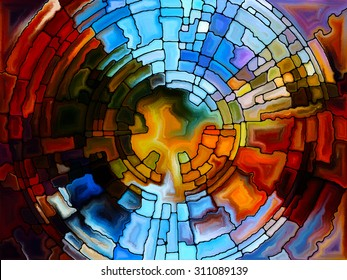 Stained Glass Pattern series. Composition of virtual stained glass fragments on the subject of art, craft and design