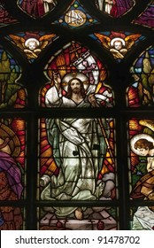 Stained glass picturing Jesus Christ in catholic cathedral of Cluj Transylvania Romania, work dated around 1900, unknown author of Munich or Budapest.