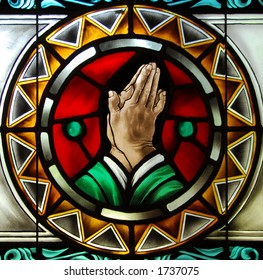 Stained Glass: Praying Hands Detail