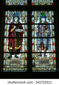 Stained glass of the Rijksmuseum or State museum in Amsterdam in the Netherlands Photo taken on 10 december 2014