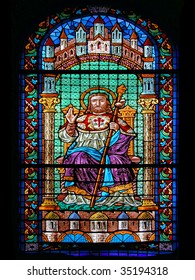 Stained Glass of Saint James Cathedral. Santiago de Compostela, Spain.