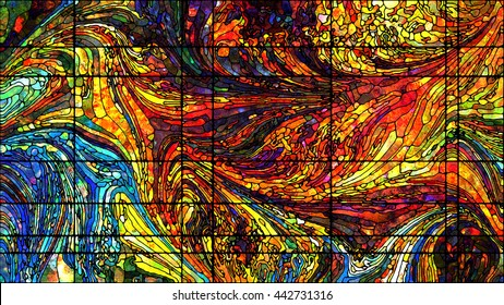 Stained Glass series. Backdrop composed of colorful stained glass patterns and suitable for use in the projects on art, design and forces of Nature for extra large displays.
