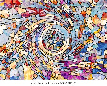 Stained Glass series. Composition of organic patterns on the subject of spirituality, imagination, creativity and art
