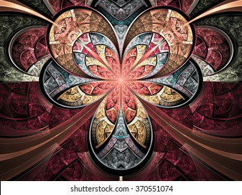 Stained glass style fractal flower, digital artwork for creative graphic design