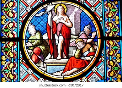 Stained Glass Temple Window from Cathedral in Basel, Switzerland