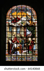stained glass window in Abbey church of St Peter and St Andrew at Uzerche; France