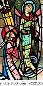 Stained glass window of the Annunciation to Mary by the Angel Gabriel