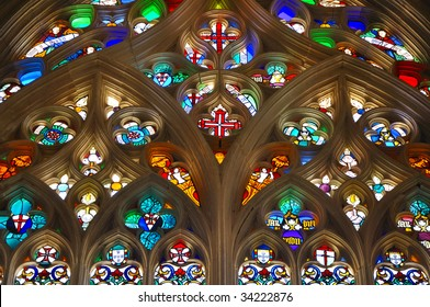 stained glass window in the chapel of the Monastery of Santa Maria da Vitoria in Batalha, Portugal
