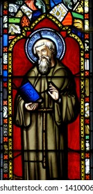 A stained glass window in the chapel on the Farne Islands, UK, depicting Saint Cuthbert.