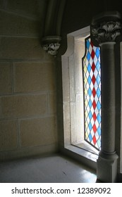 Stained glass window in a chateau