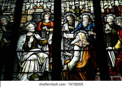 Stained glass window in a church in Edinburgh, Scotland.
