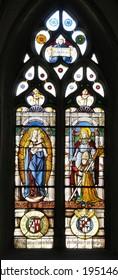 Stained Glass window in church in Saint Saphorin, Switzerland.
