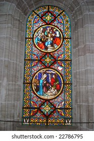 Stained Glass Window Depicting Bible Stories (Munster Cathedral In Basel Switzerland).